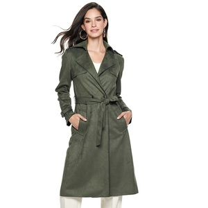 Mark Olive Green Suede Trench Coat